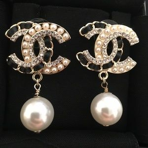 Chanel Gold Classic Pearl Drop Leather  Earrings